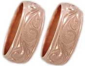 pink gold wedding ring set