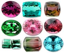 different colors of tourmalines